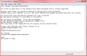 Ryuk Ransomware Note
